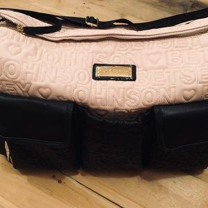 Betsey Johnson Pink Black Duffel Bag Tote